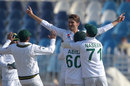 Shaheen Afridi is overjoyed after picking up a wicket, Pakistan v Bangladesh, 1st Test, Rawalpindi, World Test Championship, 1st day, February 7, 2020