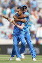 Yuzvendra Chahal and Mayank Agarwal celebrate a wicket, New Zealand v India, 2nd ODI, Auckland, February 8, 2020