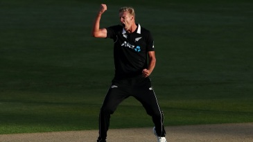 Kyle Jamieson roars after getting a wicket in his first over on debut