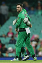 Glenn Maxwell celebrates a wicket, Sydney Sixers v Melbourne Stars, BBL 09 final, Sydney, February 8, 2020