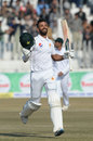 Shan Masood takes off his helmet after getting to a hundred, Pakistan v Bangladesh, 1st Test, Rawalpindi, 2nd day, February 8, 2020