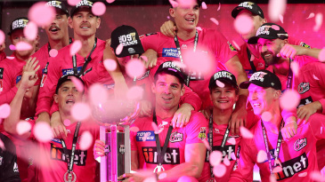 The Sydney Sixers players soak in the win