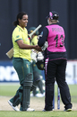 Rachel Priest congratulates Chloe Tryon for her match-winning innings, New Zealand women v South Africa women, 3rd T20I, Wellington, February 9, 2020