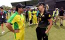 Sachin Tendulkar and Ellyse Perry chat at the Bushfire Bash before Perry bowled to him, Gilchrist XI v Ponting XI, Melbourne, February 9, 2020