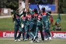 Avishek Das is congratulated by his team-mates, Bangladesh U-19s v India U-19s, Final, Potchefstroom, February 9, 2020