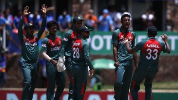 Shoriful Islam is pumped after taking a wicket