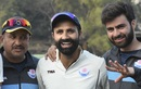 Parvez Rasool shares some smiles with team-mates after yet another Jammu & Kashmir victory, Tripura v Jammu & Kashmir, Ranji Trophy 2019-20, Group C, Agartala, February 6, 2020