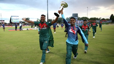The Bangladesh players celebrate with the Under-19 World Cup Trophy