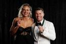Ellyse Perry, winner of the Belinda Clark medal poses with David Warner, winner of the Allan Border medal, Melbourne, February 10, 2020