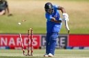 Mayank Agarwal is bowled by one that slants in from outside off, New Zealand v India, 3rd ODI, Mount Maunganui, February 11, 2020