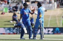 Shreyas Iyer is congratulated by KL Rahul for bringing up fifty, New Zealand v India, 3rd ODI, Mount Maunganui, February 11, 2020