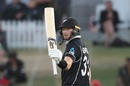 Martin Guptill acknowledges the cheers after getting to his half-century, New Zealand v India, 3rd ODI, Mount Maunganui, February 11, 2020
