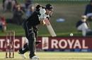 Henry Nicholls drives down the wicket, New Zealand v India, 3rd ODI, Mount Maunganui, February 11, 2020