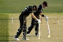Martin Guptill and Henry Nicholls inspect the pitch, New Zealand v India, 3rd ODI, Mount Maunganui, February 11, 2020