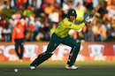 Rassie van der Dussen drives through the covers, South Africa v England, 1st T20I, East London, February 12, 2020