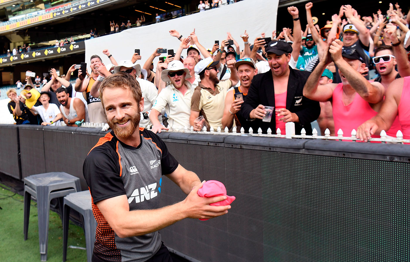 Kane Williamson greets fans after the match