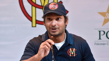 Kumar Sangakkara speaks in Lahore at the start of MCC's tour