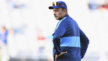 Ravi Shastri keeps a close watch during a training session