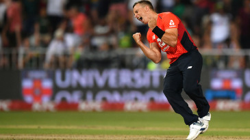 Tom Curran claimed two in two balls to finish