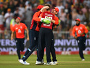 England celebrate their final-ball victory, South Africa v England, 2nd T20I, Durban, February 14, 2020