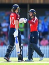 Danni Wyatt and Amy Jones discuss in the middle, England v New Zealand, Women's T20 World Cup warm-ups, Adelaide, February 16, 2020