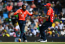 Adil Rashid celebrates with Jason Roy, South Africa v England, 3rd T20I, Centurion. February 16, 2020