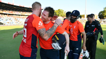 Eoin Morgan embraces Ben Stokes after sealing victory in the match and a 2-1 series triumph