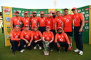 The England team pose with the silverware after their 2-1 series victory, South Africa v England, 3rd T20I, Centurion, February 16, 2020