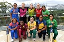 The captains of the competing teams at the Women's T20 World Cup: (front, L to R) Tippoch, Taylor, van Niekerk, Atapattu, Maroof; (back, L to R) Kaur, Devine, Lanning, Knight, Khatun