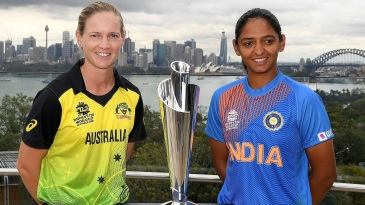 Meg Lanning and Harmanpreet Kaur pose with the Women's T20 World Cup trophy