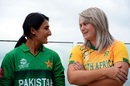 Bismah Maroof and Dane van Niekerk share a light moment during the captains' photoshoot, Syndey, February 17, 2020