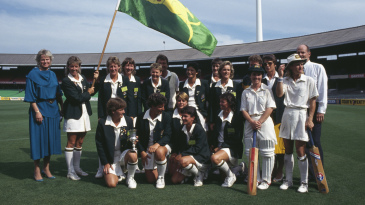 The Australian team after their victory over England in the final of the Women's Cricket World Cup