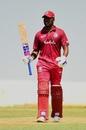 Darren Bravo celebrates a hundred, Sri Lanka Cricket XI v West Indians, tour game, Colombo, February 17, 2020