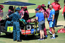 Shakera Selman gets medical attention after injuring herself on the field, India v West Indies, Women's T20 World Cup warm-up, Brisbane, February 18, 2020