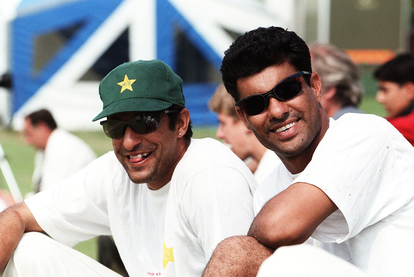 Wasim Akram and Waqar Younis relax