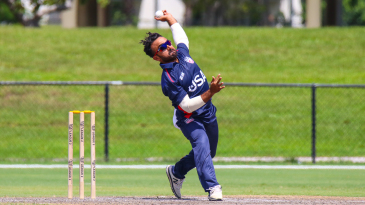 USA allrounder Nisarg Patel bowls his left-arm spin during an ODI