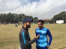 Parvez Rasool and Karun Nair share a lighter moment, Jammu, February 19.2020