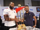 Kieron Pollard and Dimuth Karunaratne pose with the series trophy, Colombo, February 20, 2020