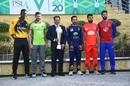 Darren Sammy, Sohail Akhtar, Sarfaraz Ahmed, Shadab Khan and Imad Wasim pose with the PSL trophy, PSL 2020, February 20, 2020