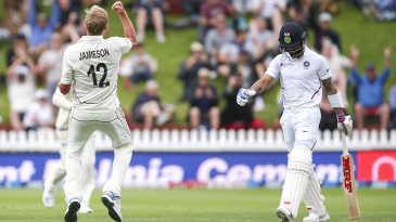 Kyle Jamieson is pumped up after getting rid of Virat Kohli