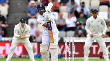 Ajinkya Rahane presents the full face of his bat
