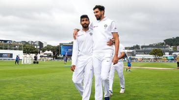 Ishant Sharma and Jasprit Bumrah share a light moment