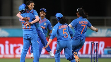 Poonam Yadav is ecstatic after taking a wicket