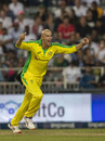 Ashton Agar celebrates his dismissal of Dale Steyn, South Africa v Australia, 1st T20I, Johannesburg, February 21, 2020