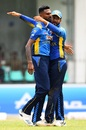 Dimuth Karunaratne congratulates Isuru Udana, Sri Lanka v West Indies, 1st ODI, Colombo, February 22, 2020