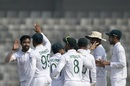 Bangladesh players celebrate a wicket for Abu Jayed, Bangladesh v Zimbabwe, Only Test, Dhaka, 1st day, February 22, 2020