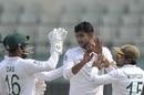Nayeem Hasan celebrates a wicket, Bangladesh v Zimbabwe, Only Test, Dhaka, 1st day, February 22, 2020