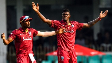 Alzarri Joseph appeals for a wicket