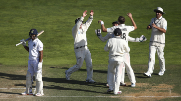 Tim Southee and his team-mates celebrate Mayank Agarwal's wicket