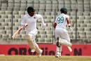 Tamim Iqbal and Najmul Hossain Shanto sprint across for a run, Bangladesh v Zimbabwe, Only Test, Dhaka, 2nd day, February 23, 2020